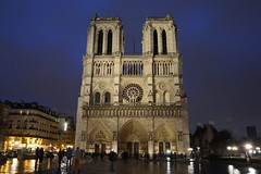Notre Dame on rainy evening (raewynp) Tags: paris france rain architecture facade cathedral dusk gothic notredame iledelacite frenchgothic