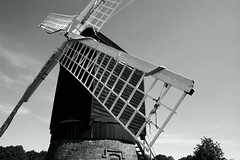Turning Windmill (Heaven`s Gate (John)) Tags: wood england blackandwhite bw white black building windmill museum architecture wooden traditional historic sail midlands avoncroft johndalkin heavensgatejohn