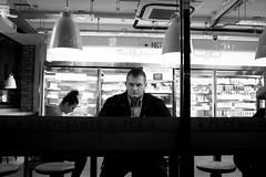 Window View (The Urban Scot) Tags: street man london window night cafe coffeeshop stranger x100t
