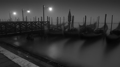 Gondolas before dawn (Clea Romeo) Tags: venice blackandwhite italy sunrise dawn nikon long exposure gondola venezia gondolas