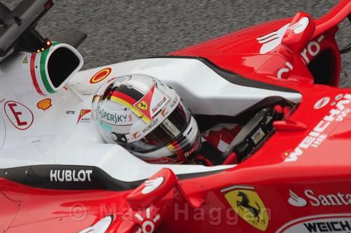 Sebastian Vettel in his Ferrari in Formula One Winter Testing 2016