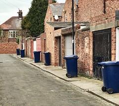 Bin day (StartTheDay) Tags: street city uk blue urban brick tarmac wall newcastle back garbage alley bricks blues bin lane rubbish recycling backlane wheeliebin martinparr binday