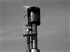 Methane Flare (brenGT2) Tags: park bw river edmonton stack flame valley flare rundle