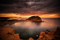 Los Cocedores (ser-y-star) Tags: ocean travel sunset sea sky mountains beach nature water beautiful clouds coast landscapes sand mediterranean mediterraneo view andalucia murcia views coastline almeria aguilas tombolo cocedores