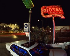 Erasing Vintage (RZ68) Tags: santa clara street new old blue light red green abandoned colors car sign vintage painting real highway san neon camino jose wide trails motel down el gone hwy fisheye velvia kings bulbs torn arrow condos rgb provia ultra demolished rz67 e100