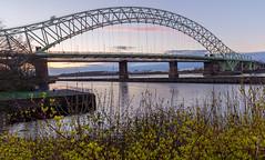 Runcorn Bridge at sunset (SiKenyonImages) Tags: bridge pink blue sunset orange liverpool wideangle runcorn merseyside merseygateway