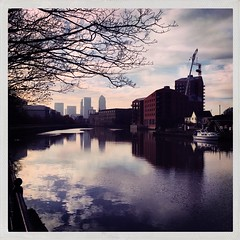 The River Lea (firstnameunknown) Tags: city london water reflections river cityscape lea canarywharf eastlondon iphoneography hipstamatic