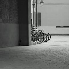 Entrance B&W (sandroraffini) Tags: new old urban bw details bikes minimalism exploration courtyards entrances topographics cortili psicogeografia