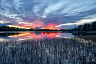 Sunset at lake Isesjø