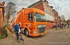 Truck Parking,Groningen Stad,the Netherlands,Europe (Aheroy(2Busy)) Tags: street red orange car bike bicycle truck parking groningen streetcorner rood fiets vrachtwagen streetshot daf hoek parkeren groningenstad kerklaan tonemapped straathoek aheroy aheroyal