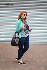 Rock Chic Meets Corporate Style: Navy and black with a rock tee, skinny scarf and mint biker jacket | Not Dressed As Lamb (Not Dressed As Lamb) Tags: classic fashion blog spring graphic style tshirt blogger fashionista tee