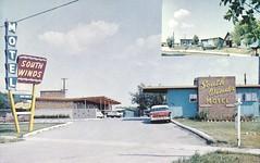 South Winds Motel - Winnipeg, Manitoba (The Cardboard America Archives) Tags: sign vintage postcard motel manitoba sprinkler
