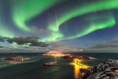 Sky Fan (kbaranowski) Tags: bridge mountains nature norway island colorful arctic northernlights auroraborealis tromso troms beautyinnature northernnorway sommaroy krzysztofbaranowski 2016krzysztofbaranowski