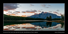 Sunrise at Two Jack Lake with Mt. Rundle, Banff National Park, Alberta (kgogrady) Tags: morning autumn panorama mountain canada fall clouds landscape nikon pano noone ab nopeople alberta banff peaks nikkor fx mountrundle banffnationalpark parkscanada mtrundle canadianrockies westerncanada 2015 canadianmountains canadianlakes canadiannationalparks canadianlandscapes albertalakes albertalandscapes d800e nikon2470mmf28fxafsgednikkor photosofbanffnationalpark picturesofbanffnationalpark canadianrockieslanscape
