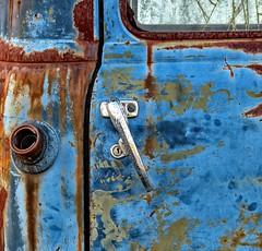 Rusty truck detail (sharon'soutlook) Tags: blue detail macro truck rust rusty peelingpaint doorhandle gastankopening