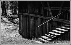 stairs (Fay2603) Tags: wood old trees light architecture stairs licht blackwhite outdoor cottage htte wiese haus frame architektur uni holz bume gebude schwarz abstrakt stufen treppen graben gelnder weis holzhaus einfarbig bauweise fotorahmen