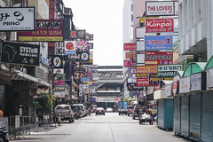 Signscape (tylerkingphotography) Tags: road street city travel cars shop shopping lens thailand photography nikon bars southeastasia photographer traffic outdoor bangkok restaurants kingdom competition business explore busy backpacking thai signage billboards clubs kit 1855mm traveling attention amateur crowded silom thaniya d3100