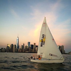 Sunset in the harbor- 2016 season here we come! #manhattansailingschool (bucketandbay) Tags: jerseycity gelato bucketandbay