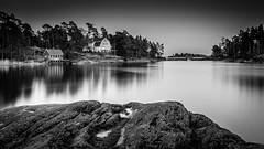 Darkside (Mika Laitinen) Tags: ocean longexposure sunset sea sky bw cloud seascape nature water monochrome rock suomi finland landscape helsinki europe outdoor wideangle calm balticsea shore serene scandinavia vuosaari twilght uutela canon7dmarkii