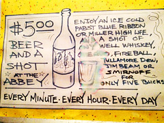 Happy Hour, Every Hour (Exile on Ontario St) Tags: life new blue usa cold beer glass abbey sign promotion bar drunk french bottle high pub orleans louisiana commerce shot unitedstates drink united neworleans drinking whiskey special business annonce miller alcool alcohol frenchquarter decatur whisky quarter pbr pabst ribbon shooter states nola smirnoff franais panneau nouvelle happyhour fireball pabstblueribbon signe coldbeer bire affiche verre enseigne theabbey jimbeam bouteille quartier millerhighlife louisiane orlans boire icecold spcial getdrunk nouvelleorlans quartierfranais lanouvelleorlans
