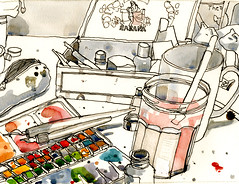 Warm in the Studio, Snow Falling on Rossendale (larosecarmine) Tags: urban art moleskine pen ink studio artist johnson caroline documentary brushes watercolour pens reportage paintbox rossendale sketcher rawtenstall