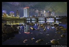 Columbus Milky Way Composite (SounDesign Photography) Tags: county city blue columbus ohio water beautiful composite skyline night buildings reflections river way stars franklin evening rocks university glow cityscape state time galaxy hour milky starry