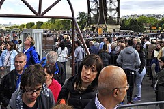 Under the Eiffel Tower (AntyDiluvian) Tags: trip paris france tower tickets crowd eiffeltower line 2015