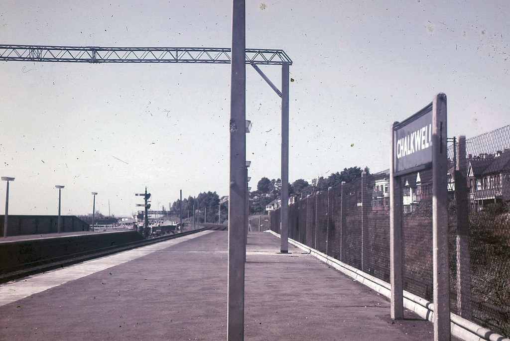 Chalkwell Station with new electrification gantries in place