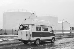 Did I take enough vitamins for today? (Leo Hernn) Tags: road street winter blackandwhite monochrome truck site industrial outdoor mark reykjavik question van vitamins discover rediscover