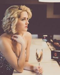 McConnell (rhn3photo) Tags: portrait woman glass girl bar fur model wine bokeh champagne january curls naturallight greeneyes blonde gown bacardi cleavage rhinestones 2015 ballgown partridgeinn