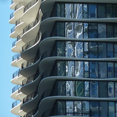 Chicago, From Lake Shore East Park, Aqua Tower Balconies and Reflections (Architect: Jeanne Gang) (Mary Warren (8.4+ Million Views)) Tags: blue chicago abstract building lines architecture reflections geometry curves balconies condotower aquatower jeannegang
