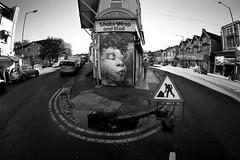 Shake Wrap and Roll (weirdoldhattie) Tags: urban blackandwhite bw streetart art face bristol graffiti yellowlines a38 horfield cheltenhamroad bs6