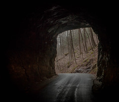nada tunnel (gianteyephotography) Tags: winter red white black art rock forest river lost james sticks search woods midwest warm hole nest kentucky connor tunnel hike adventure gorge conversation came