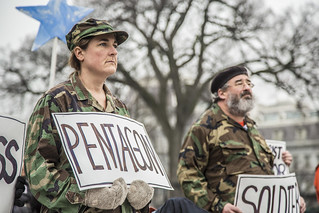 Protesters Representing the Military