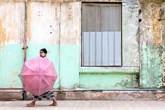 in the absence of an alibi (MdKiStLeR) Tags: street travel motion color wall umbrella movement southeastasia candid yangon burma culture myanmar 2015 mdkistler copyrightmichaelkistler intheabsenceofanalibi