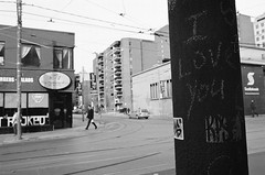 I LOVE YOU (Georgie_grrl) Tags: blackandwhite toronto ontario monochrome message post pentaxk1000 iloveyou queenstreetwest lovenote ilford400bw rikenon12828mm