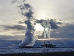 Shepard Energy Centre (annkelliott) Tags: winter snow plant canada building industry clouds outdoor alberta electricity vapour beforesunset billowing enmax annkelliott anneelliott fz200 eofcalgary fz2003 31january2016 takenfromglenmoretrail shepardenergycentre