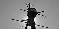 Averof foretop BW (PhillMono) Tags: travel sun white black heritage history monochrome silhouette sepia boat george nikon ship tripod navy vessel tourist greece maritime restoration mast preserved battleship outline dslr naval highlight cruiser warship armoured hellenic averof d7100