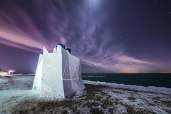 Lithoform by Night (pauses) Tags: winter sky snow toronto ontario canada cold ice beach festival architecture night clouds ryerson stars frozen sand nopeople illuminated beaches d800 2015 kewbeach buildingexterior colourimage lithoform winterstations