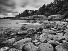 EE260031 - Rocks by the sea (Mytacism) Tags: sea blackandwhite bw seascape beach landscape long exposure sweden olympus karlshamn 1240 kofsa