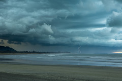 Lightning Strike (Steve.Lawton) Tags: newzealand storm beach canon thunderstorm lightning lightningstrike eastcape 2470mm28 5dmkiii opapebeach