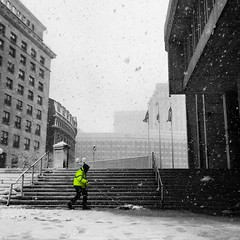 Snow Workers Clearing (Goldpanda94) Tags: plaza city winter snow storm boston hall workers plowing