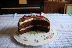 Enjoyed (roger_forster) Tags: birthday home cooking cake berry mary decoration dragons cappucino