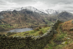 Little Langdale (March 2016 #1) (Lazlo Woodbine) Tags: uk england mountain snow mountains wall landscape march countryside nationalpark pentax britain lakedistrict overcast cumbria 1855mm hdr thelakes langdale britishcountryside thelakedistrict 2016 k7 photomatix littlelangdale hdrfromsingleraw luminancehdr