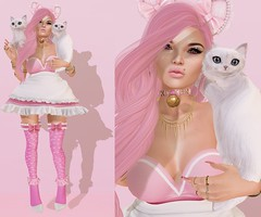 Post #1675 ( =^^=) Tags: pink white cute green garter fashion rose cat gold necklace blog kitten dress heart mesh bell body head girly feminine nail makeup kitty piercing ring secondlife bow kawaii ear bracelet bangle stocking hud maid headband dainty ruffle frill applier pinkatude sashakittehwildrose