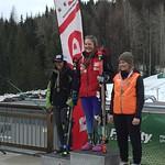 Red Mountain Fidelity BC Cup U18 SL podium March 5 - left to right - Nakia Kamachi, Katie Fleckenstein, Frances MacDonald PHOTO CREDIT: Steve Fleckenstein