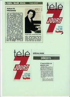 MICHEL SOGNY PRESSE TELE 7 JOURS MAI ET AVRIL 1980