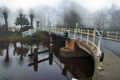 the bridge............. (atsjebosma) Tags: bridge trees mist water fog fence thenetherlands brug groningen february 2016 hff hoogkerk knotwilg hoendiep depoffert atsjebosma