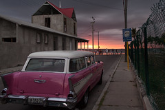 Classic Car, Classic Sunset at Cienfuegos, Cuba (hectordotlee) Tags: travel pink sunset urban car canon classiccar outdoor cuba scenic tourist local cienfuegos attraction resident 500d canon500d