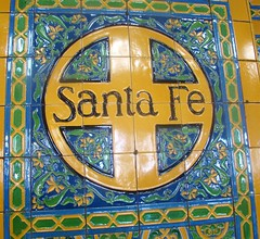 Downtown San Diego - Sata Fe Depot - Logo in Ceramic tiles (ramalama_22) Tags: santa plaza art burlington tile ceramic logo mexico san downtown trolley mosaic border transport centro diego international amtrak transportation tijuana fe northern coaster frontera bnsf railraod ysidro